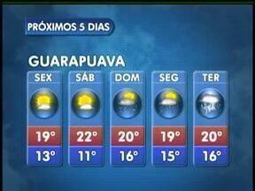 O sol continua forte nesta sexta-feira em Guarapuava - Não existe previsão de chuva na cidade, mas as temperaturas ficam mais baixas. A máxima esperada é de 19 graus.