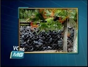 Telespectador denuncia armazenamento irregular de pneus em Ipatinga - O material está em local aberto e pode acumular água.