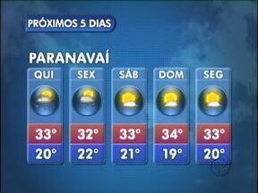 Calor e chuva no fim da tarde em Paranavaí - A temperatura segue alta e chega aos 33º nesta quinta-feira (24).