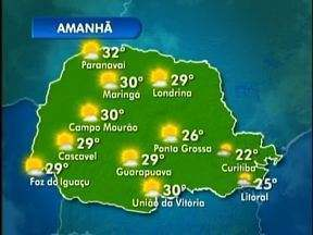 Tempo bom no domingo em todo o interior do Parana - Veja a previsão do tempo para os próximos dias no mapa.