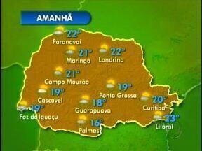 Confira a previsão do tempo para o oeste e o sudoeste do estado - Amanhã, o tempo abre um pouco, mas ainda podem ocorrer pancadas de chuva. Mínimas de 16 em Palmas, e de 19 em Foz. do Iguaçu.