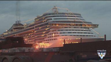 Polícia Federal passa o dia investigando o navio MSC Fantasia - Turista morreu após cair de uma das cabines do navio.