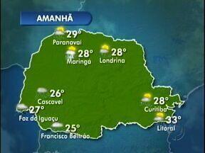 Quinta-feira chuvosa nas regiões oeste e sudoeste - As temperaturas baixam um pouco.
