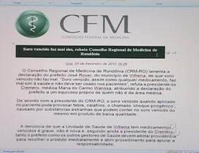 """Conselho Regional de Medicina de RO se manifesta, após declaração de prefeito de Vilhena - Prefeito José Rover disse que """"soro vencido não faz mal"""". A afirmação foi feita durante uma entrevista em um programa de rádio."""
