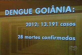Goiânia registrou 6% a mais de casos da dengue na última semana se comparado à anterior - A capital goiana registrou 4.515 novos casos de dengue na última semana. O número é 6% a mais do que na semana anterior. A boa notícia é que o índice de infestação do mosquito transmissor da doença caiu em relação a janeiro.