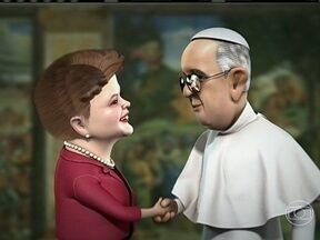 Humor: Dilma Rousseff se apresenta ao novo papa - A Charge do Chico desta quinta-feira (21) satiriza o encontro da presidente Dilma Rousseff com Jorge Mario Bergoglio, o Papa Francisco.