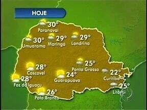 Previsão de chuva para várias regiões do Paraná - Temperatura em Londrina nesta terça-feira deve ficar entre 18º e 29º.