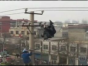 Homem se pendura em fios de alta tensão na China - Um homem escalou um poste de nove metros de altura, completamente bêbado, e ficou passeando pelos fios de alta tensão. O caso parou a cidade, que fica no norte da China. Quando ele se soltou, foi amparado pelos bombeiros.