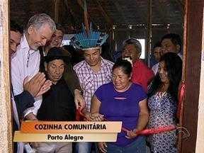 Cozinha comunitária é inaugurada em uma aldeia indígena em Porto Alegre - Evento busca resgatar forma tradicional e coletiva de produzir alimentos de forma mais saudável.