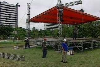 Estrutura para o Domingo no Parque já começou a ser motado em Campina Grande - Evento promovido pela TV Paraíba vai oferecer lazer, esporte e serviços no Parque da Criança no domingo.