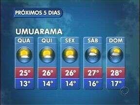 Semana continua com temperaturas mais baixas - Em Umuarama, a mínima é de 13º na quarta-feira (24).