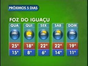 Frente Fria derruba as temperaturas em Foz do Iguaçu - A semana segue com tempo instável na cidade, só na quinta-feira o tempo fica firme e as temperaturas diminuem. A mínima será de seis graus na sexta-feira.