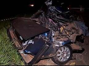 Animal na pista causa acidente e uma pessoa morre próximo a Uberlândia - Motorista perdeu o controle ao bater em uma vaca. Pista chegou a ficar interditada nos dois sentidos da BR-497.
