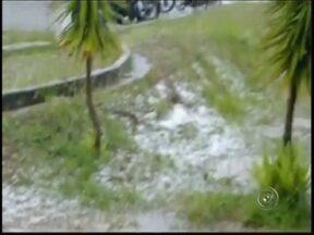 Moradores registram queda de granizo durante tempestade em Botucatu - Uma chuva rápida e forte atingiu Botucatu (SP) no final da tarde desta quarta-feira (12). Em alguns pontos da cidade caiu granizo e moradores registraram a queda das pedras de gelo.
