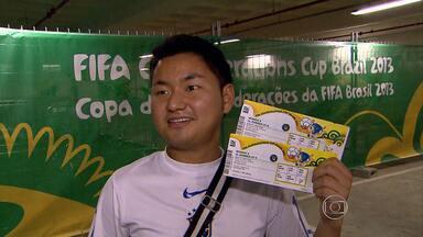 Posto da Fifa aguarda retirada de bilhetes para Copa das Confederações - Até a noite desta quarta-feira (12), poucos torcedores haviam feito a retirada de ingressos. O primeiro jogo ocorre na p´roxima segunda-feira (17), em Belo Horizonte. O posto está montado em um shopping na Região Leste da capital.
