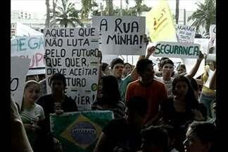 Em Castanhal, a quinta-feira também foi de protestos - Os manifestantes foram até a prefeitura da cidade.