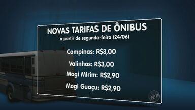 Veja os novos valores da tarifa de ônibus na região de Campinas após os protestos - Em Campinas, a tarifa passou para R$ 3, assim como em Valinhos. Em Mogi Guaçu e Mogi Mirim, a passagem passa a custar R$ 2,90.