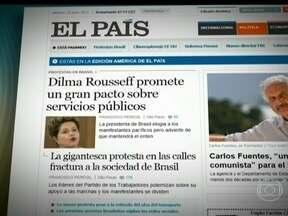 """Discurso de Dilma é destaque na imprensa internacional - O espanhol El País destaca que a presidente promete um grande pacto para melhorar os serviços públicos. O Le Monde afirma que Dilma tenta recuperar o controle da situação. Em nota, a Fifa diz ter """"recebido bem"""" as palavras da presidente."""