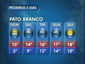 A semana começa com chuva em Pato Branco - O sol só vai aparecer na quinta-feira