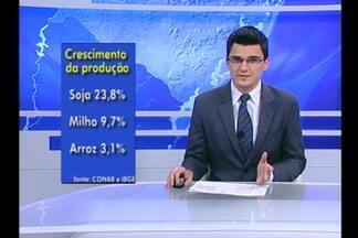 O IBGE divulga dados sobre a produção de grãos no país. - O Brasil deve produzir mais de cento e oitenta e cinco milhões de toneladas de grãos nesta safra.