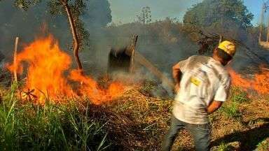 Brigadistas passam a tarde lutando contra incêndio em Cuiabá - Brigadistas passaram a tarde desta sexta-feira (26) combatendo um incêndio no Bairro São Sebastião, região do Tijucal, em Cuiabá.