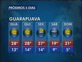 A quarta-feira será quente e ensolarada na região de Guarapuava - Não existe previsão de chuva na região. Os termômetros devem marcar 28 graus na cidade.