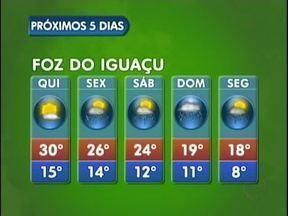 Frente Fria deixa o tempo instável em Foz do Iguaçu a partir de sexta-feira - Há previsão de chuva até segunda-feira e as temperaturas voltam a cair. A mínima será de oito graus.