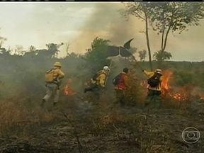 Incêndio destrói 60% de um reserva indígena no Mato Grosso - Segundo o Inpe, o estado é o que registra o maior número de queimadas no país. O Ibama diz que desde o começo do ano foram 17 focos de incêndio nesta reserva. A suspeita é que quase todos foram criminosos.