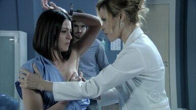 Glauce examina Silvia - Michel obriga a esposa a se consultar com a médica. Glauce tenta tranquilizar Silvia