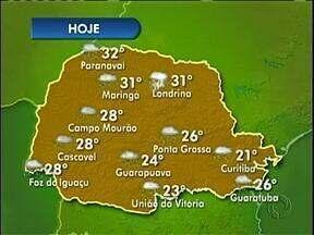 Chuva chega a tarde em todo o Paraná - Veja como fim as temperaturas mínimas e máximas pelo estado.