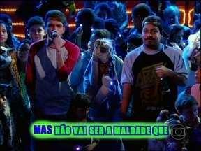 Pollo canta o sucesso 'Vagalumes' - Crianças vão para o palco com lanterninhas e arca fica iluminada