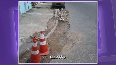 Moradores do bairro Vila Natal, em Cubatão, reclamam de calçadas - Prefeitura diz que está construindo uma rotatória na rua 25 de Dezembro para melhorar o acesso ao bairro