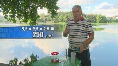 2º Bloco | Professor de matemática ensina como calcular variação de volume - Aliomar Santos usou diversos recipientes e água do Açude de Apipucos.