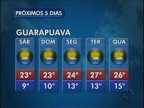 O sábado vai ser ensolarado na região de Guarapuava - Não existe previsão de chuva e as temperaturas ficam agradáveis na cidade.