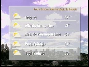 Temperaturas permanecem altas em todo Oeste Paulista - Máxima pode chegar aos 35º C em Tupi Paulista. Veja em outros municípios.