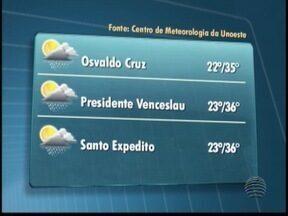 Quarta-feira deve ser de calor e tempo abafado - Em Santo Expedito, temperaturas ficam entre 23º C e 36º C