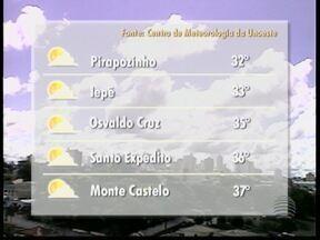 Pancadas de chuva podem acontecer na tarde desta quarta-feira - Veja como ficam as temperaturas em algumas cidades da região de Presidente Prudente.