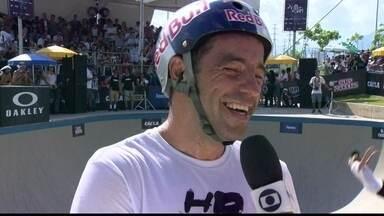Sandro Dias fala do formato da piscina do Skate Bowl: 'O skate veio do surfe' - Skatista profissional é uma das atrações da final da etapa.