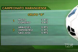 Confira a classificação do Campeonato Maranhense - Moto e Cordino lideram o grupo A, enquanto Sampaio e Santa Quitéria saem na frente no grupo B