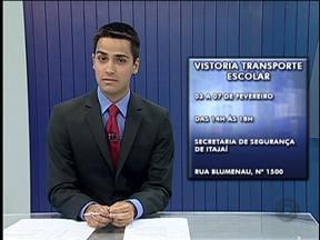 Vans escolares passarão por vistoria em Itajaí - Fiscalização do Transporte Escolar é obrigatória, segundo o Código de Trânsito Brasileiro.