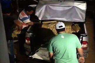 Polícia apreende 450 quilos de maconha em Chapadão do Céu - Cerca de 450 quilos de maconha foram apreendidos no domingo (23) em Chapadão do Céu. A droga foi encontrada na carroceria de uma pick-up, que foi roubada em Goiânia.