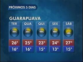 A terça-feira será de tempo instável na região de Guarapuava - O sol aparece, mas estão previstas pancadas de chuva e trovoadas à tarde.