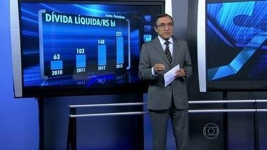 Dívida da Petrobras preocupa o mercado financeiro - Carlos Alberto Sardenberg afirmou que a dívida líquida da Petrobras ficou quase quatro vezes maior de 2010 para 2013. Para ele, a presidente da estatal conta com o aumento da gasolina e do diesel para conseguir pagar o que deve.