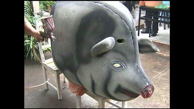 Moradores criam 'Bloco Porco Elétrico' para homenagear amigo - A ideia começou há 5 anos e já têm 300 adeptos. O bloco desfila nesta terça-feira, no bairro Aeroporto Velho.