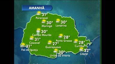 Podem ocorrer pancadas de chuva em Maringá nesse sábado - A temperatura máxima chega aos 30 graus