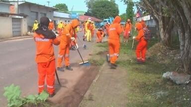Itacoatiara, no AM, recebe ação de combate à dengue - Equipes fizeram limpeza pelas ruas da cidade