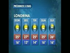 Tempo deve ficar firme mas temperatura cai um pouco - Uma massa de ar seco toma conta do Estado, amanhã, reduzindo as chances de chuva. Em Londrina esfria um pouco na segunda e na terça-feira.