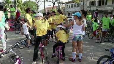 Passeio ciclístico comemora chegada do outono em Pinheiral, RJ - Ao todo, foram cerca de 6 km de trajeto na área central. Intenção dos organizadores é fazer quatro eventos como este durante o ano: um a cada estação.