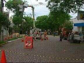 Temporal interrompe trânsito em Santa Cruz do Sul, RS - Vento forte derrubou galhos na principal rua do centro da cidade.