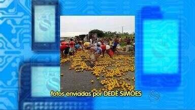 Caminhão carregado de laranja tomba em Areia Branca, SE - Segundo a Polícia Rodoviária Federal não houve vítimas.Pista foi interditada e os moradores da região saquearam as laranjas.
